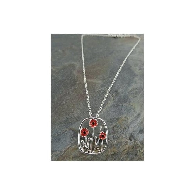 Union Jack Wear Poppy Pendant 3 poppies on 45cm Silver Finish chain necklace
