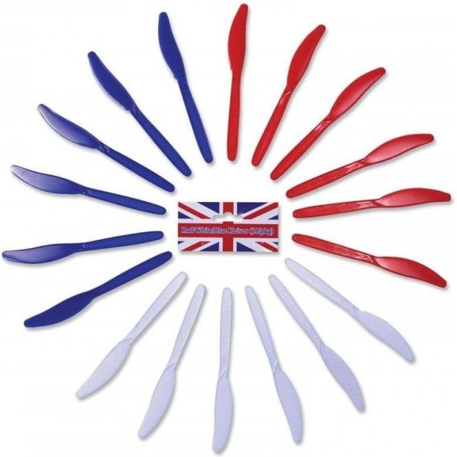 Union Jack Wear Red White & Blue Knives. Pack of 18 Plastic Knives, knife