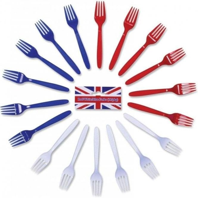 Union Jack Wear Red White & Blue Forks. Pack of 18 Plastic Forks
