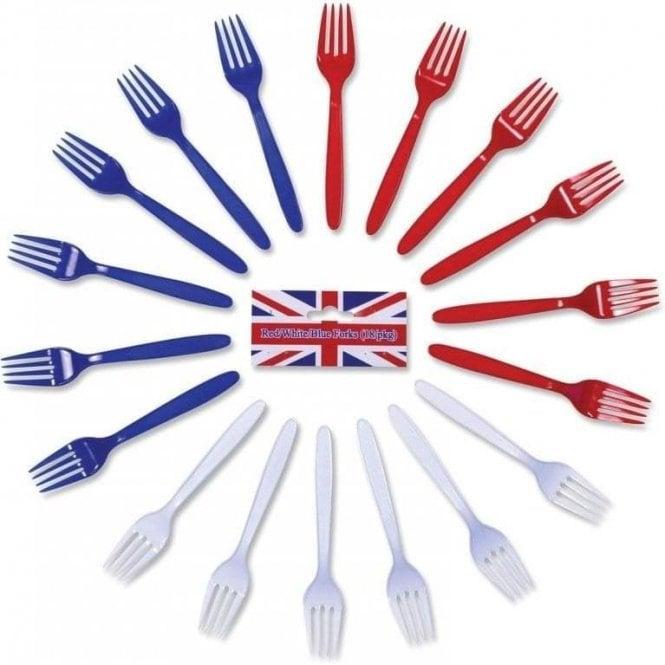 Union Jack Wear Red White & Blue Forks. Pack of 18 Plastic Forks