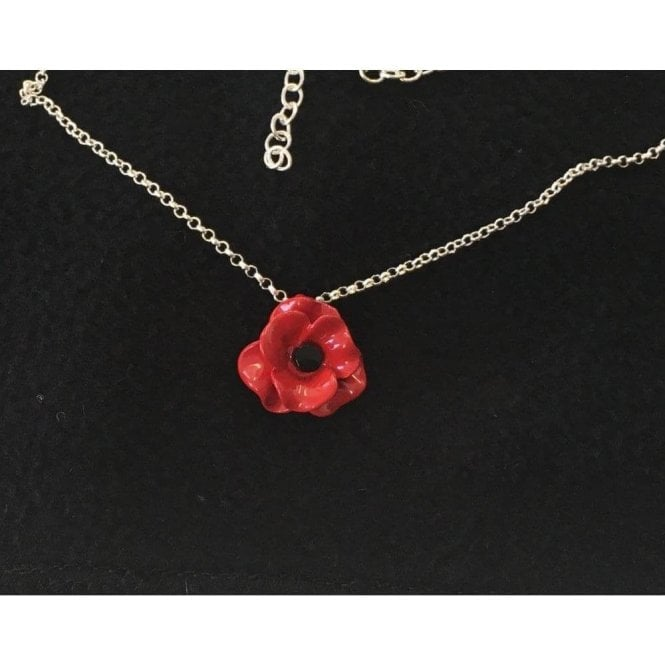 Union Jack Wear Poppy Necklace. Single small poppy matt