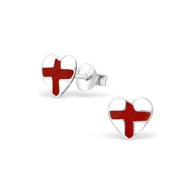 Union Jack Wear St George England Heart Sterling Silver studs - Earings