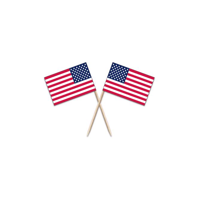 Union Jack Wear USA Stars & Stripes Flag Party picks - pack of 100