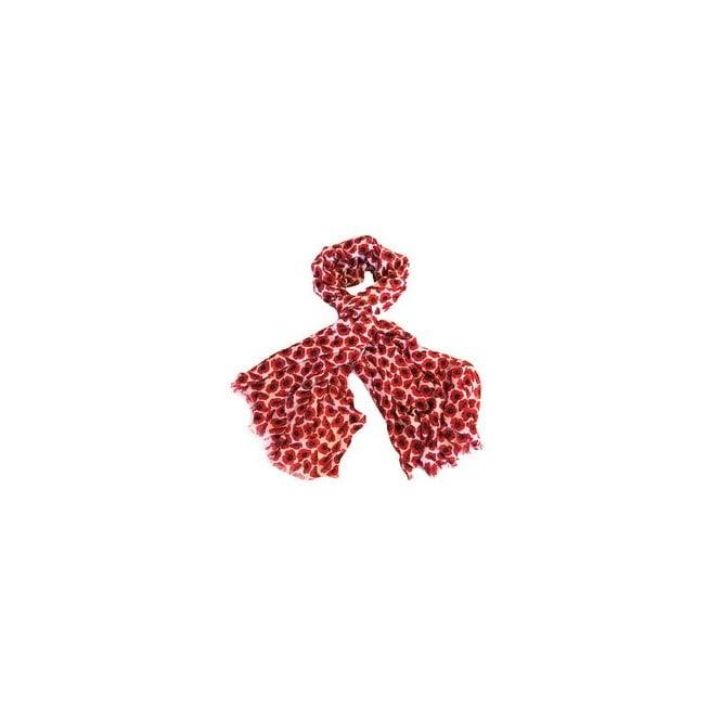 Union Jack Wear White & Red Poppy Scarf - Small Poppies