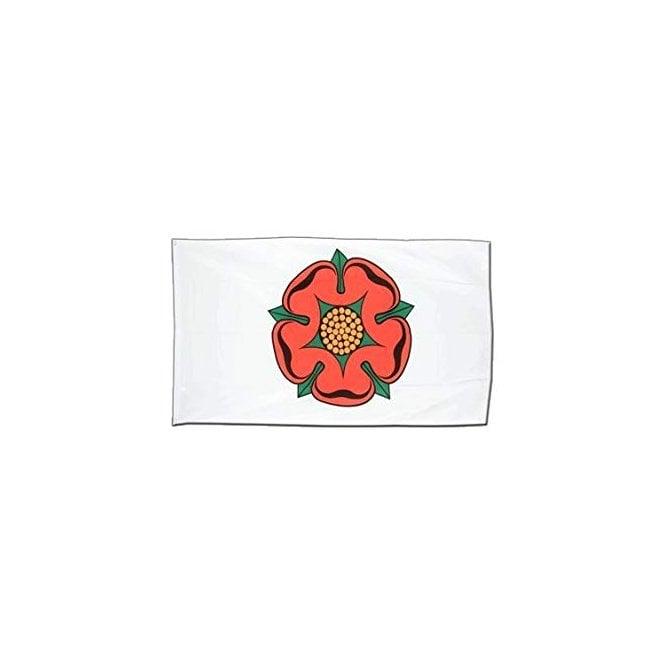 Union Jack Wear Lancashire Red Rose on White Hand Flag 2ft