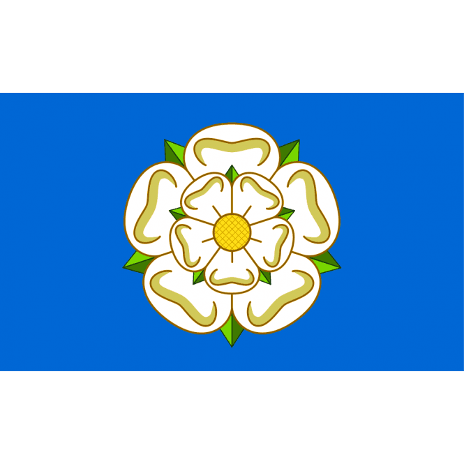 Union Jack Wear Yorkshire White Rose - Blue Hand Flag 2ft