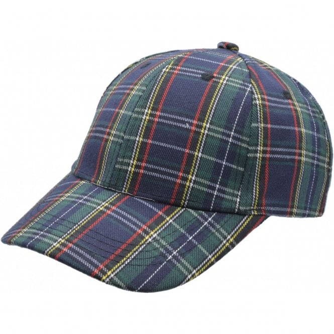 Union Jack Wear Green & Blue Tartan Baseball cap. Scotland Baseball Cap Adult size