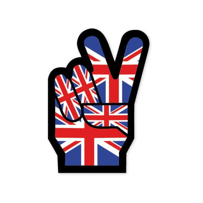 Union Jack Wear Union Jack Cool Britannia - V for Victory - Peace- Sticker - 10 x 6 cm