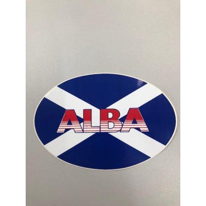 Union Jack Wear Scotland Saltire Flag ALBA sticker. Oval 17cm x 12 cm
