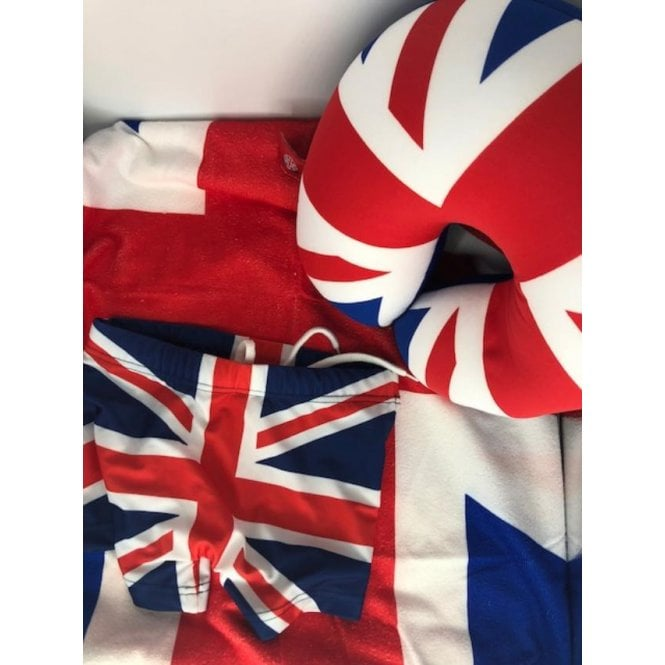 Union Jack Wear Summer Holiday Pack - Union Jack - Swimming Trunks, Towel, Neck cushion -Kit