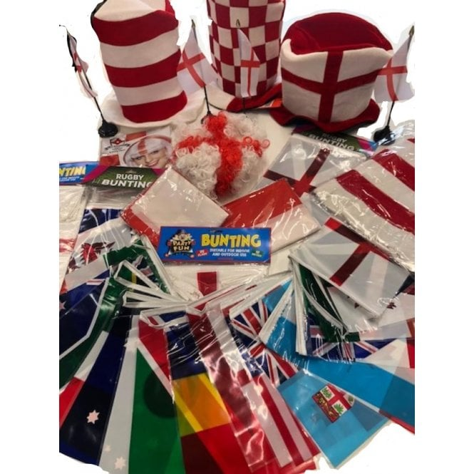 Union Jack Wear Rugby World Cup 2019 ENGLAND XL Party Kit 2019 Bunting, Hats, Wigs