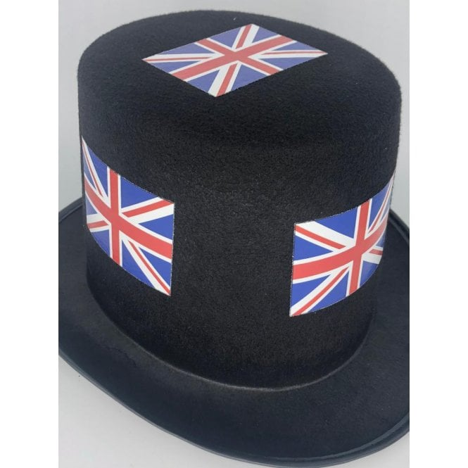 Union Jack Wear 12 Union Jack Black Top Hats - Pack of 12