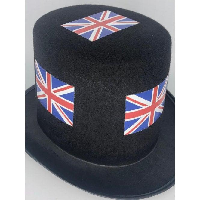 Union Jack Wear 12 Union Jack Black Top Hats - Pack of 12