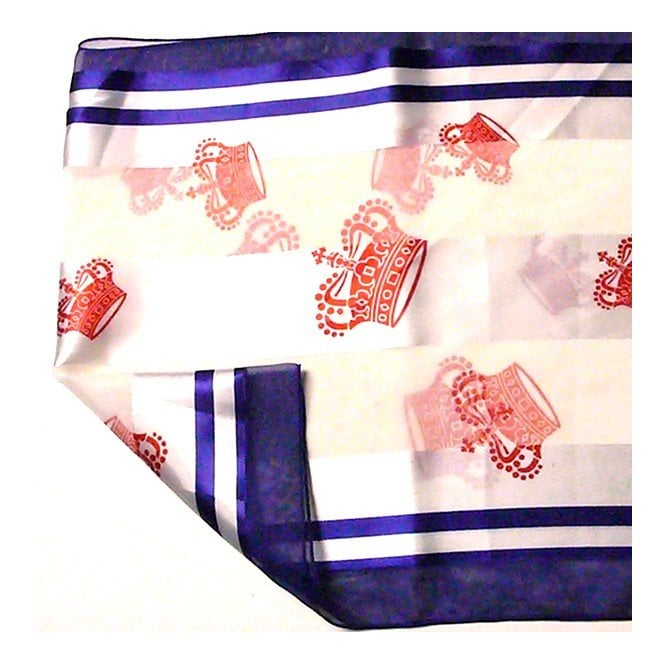 Union Jack Wear Cream scarf, Blue edge & Red Crowns Royal Silky scarve