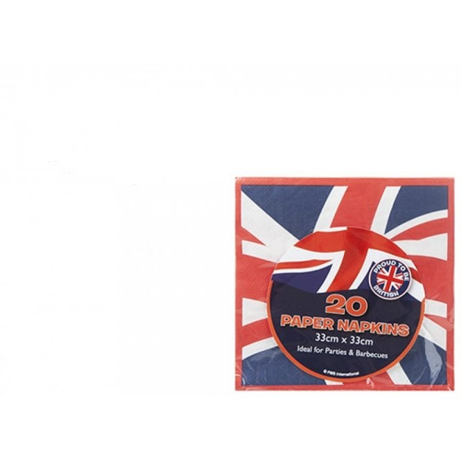 Union Jack Wear Union Jack Napkins - Pack of 20 - 33cm x 33cm