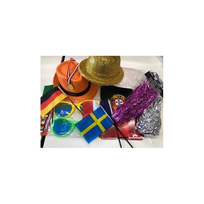 Eurovision Party Kit 2020 Euro Party Pack - Bunting, Hats, Wigs, Boa etc etc