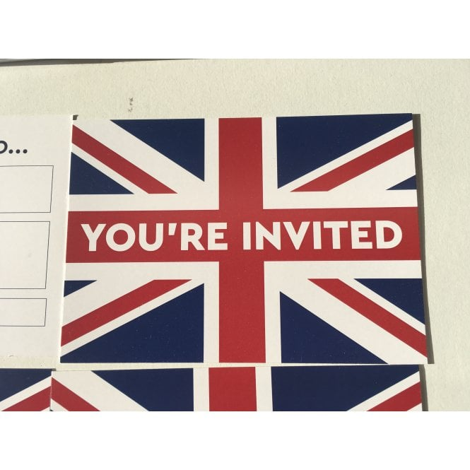 Union Jack Wear Union Jack Party Invitations with envelopes - 8 - Birthdays, Drinks, Celebrations