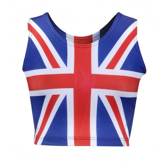 Union Jack Wear Union Jack Ladies Sports Crop Top