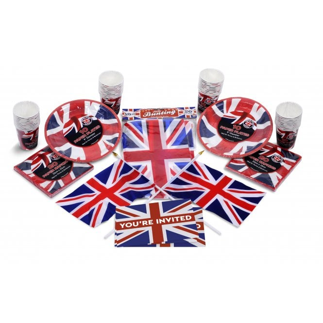 Union Jack Wear Union Jack Party Kit A. Party Pack - Bunting, Cups, Plates, Flags etc etc