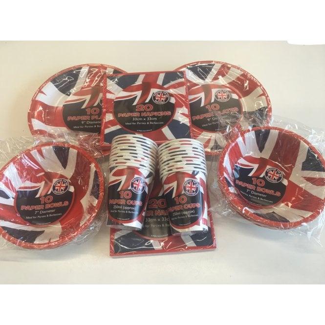 Union Jack Wear Union Jack Party Kit T. Party Pack - Cups, Bowls, Plates & Napkins