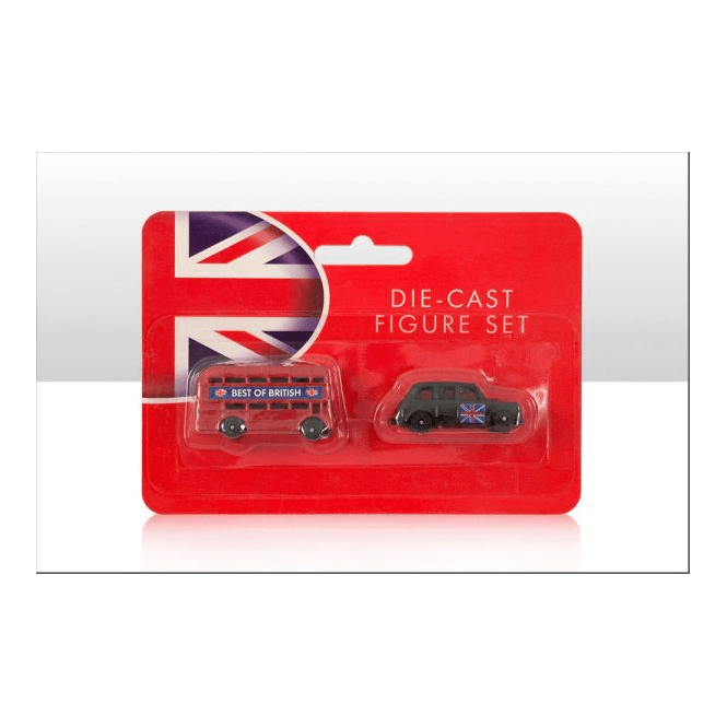 Union Jack Wear London Bus and Black Cab Taxi Die Cast Models - 4cm