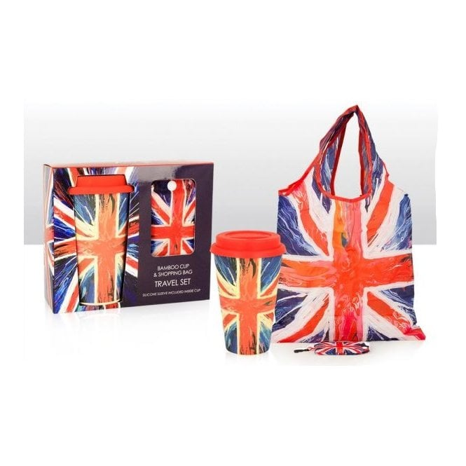 Union Jack Wear Union Jack Bamboo Cup and shopping Bag 'Spin Painting' design