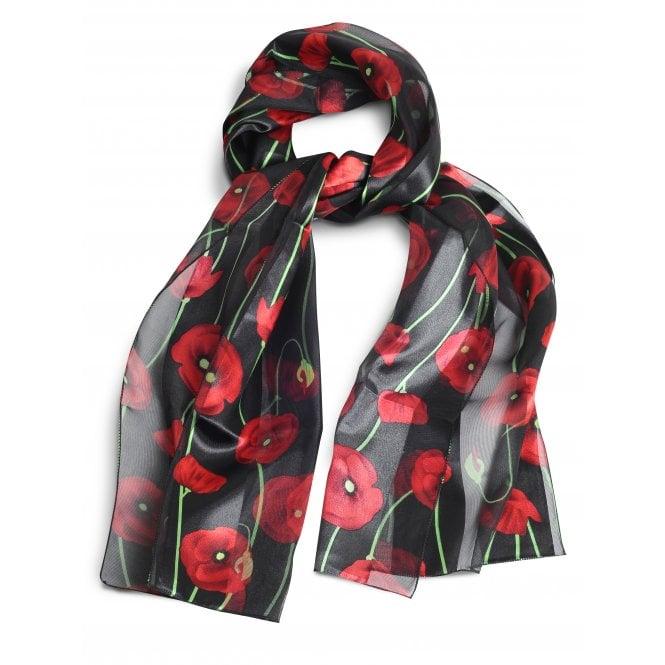Union Jack Wear Silky Black Poppy Scarf, with green stems