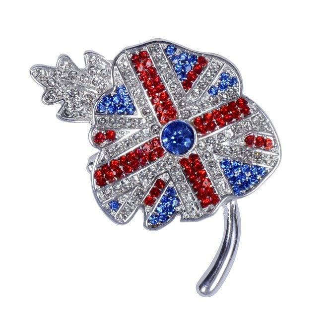 Union Jack Wear Union Jack Brooch - poppy shape with tiny stones