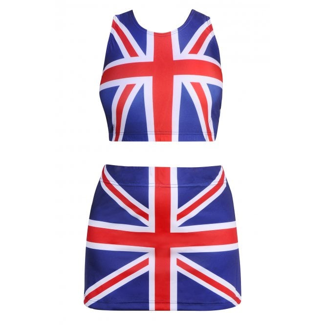 Union Jack Wear Union Jack Crop Top and Skorts