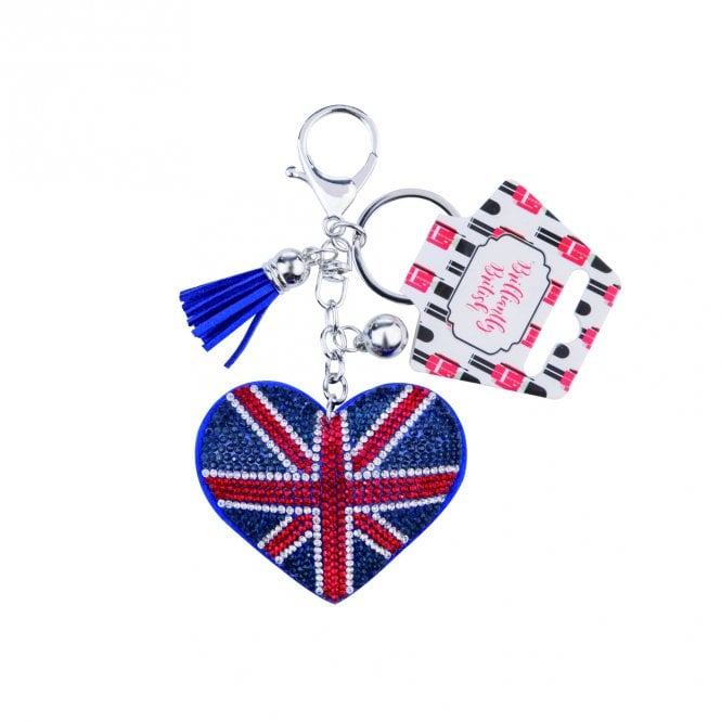Union Jack Wear Union Jack Heart 'diamonds' Keyring / bag charm