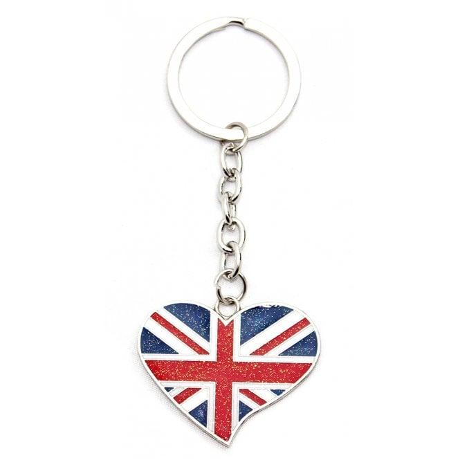 Union Jack Wear Union Jack Heart Metal Keyring / bag charm