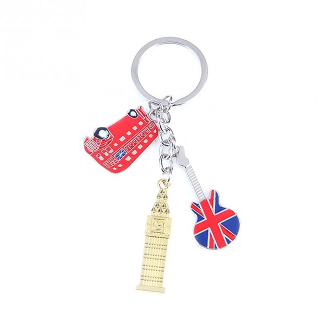 Union Jack Wear Big Ben, London Bus & Guitar Keyring / bag charm