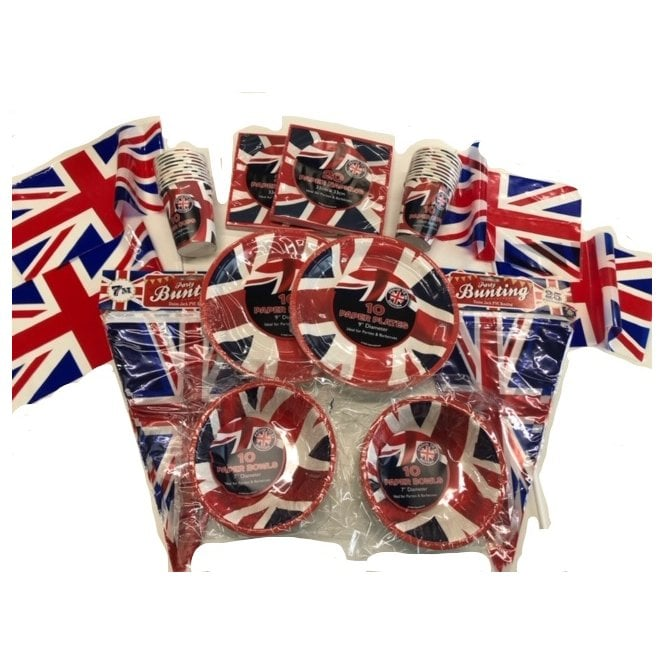 Union Jack Wear Union Jack Party Kit FB Big Party Pack - Bunting, Cups, Plates, Bowls, Napkins & Flags