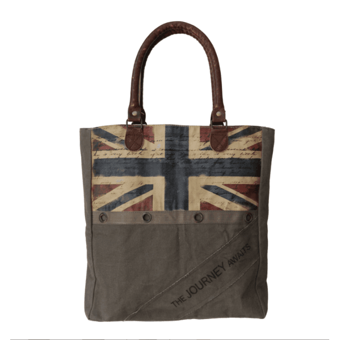 Union Jack Wear Brown Canvas Shopping Bag with colour Union Jack - Up-Cycled so each is Unique
