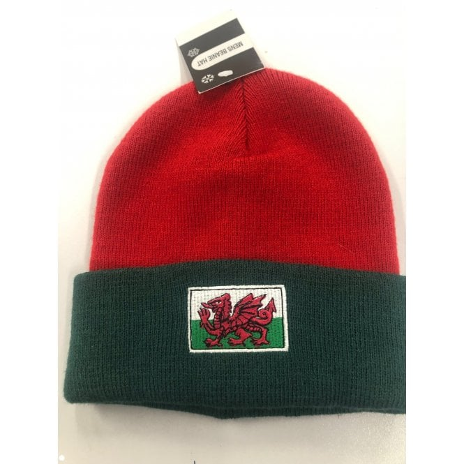 Union Jack Wear Green & Red Hat with Welsh Wales Flag - Beanie Hat
