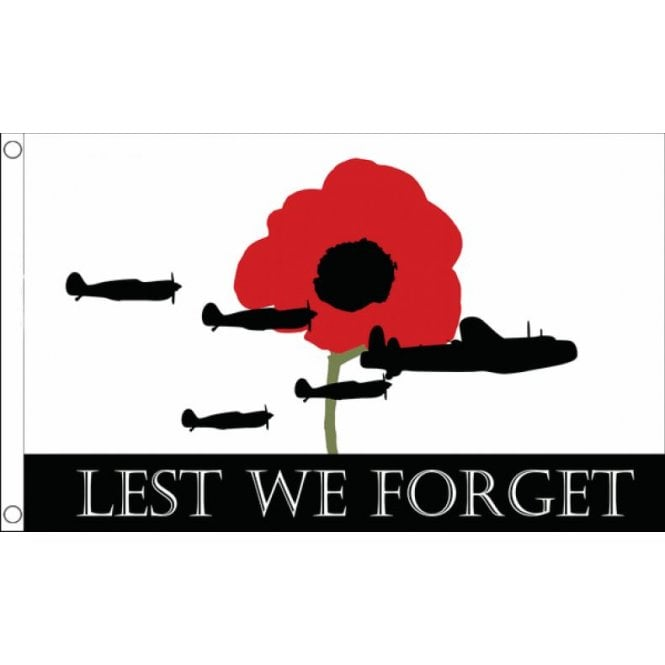 Union Jack Wear Lest We Forget Flag 5' x 3' RAF