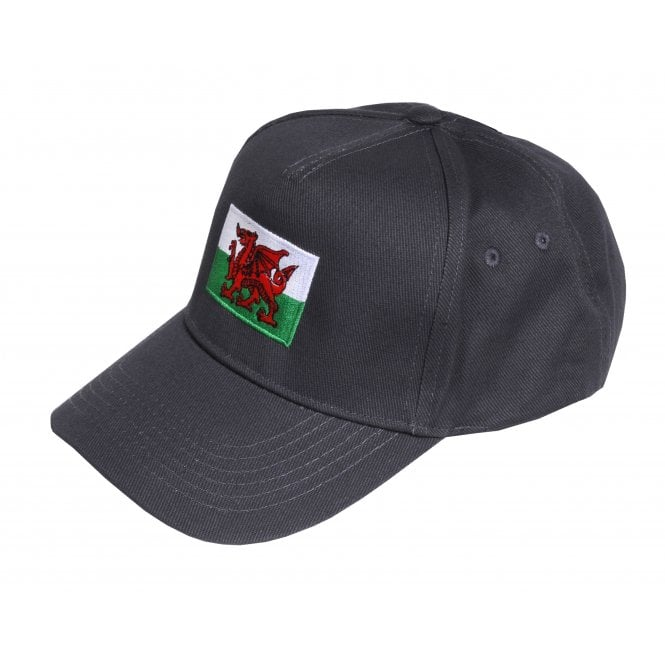 Union Jack Wear Grey Baseball Cap with Wales Flag Adult size