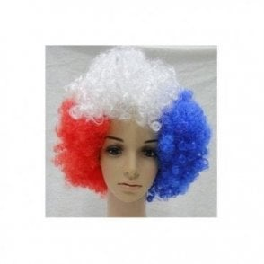 Red White and Blue Afro Wig