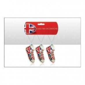 Union Jack Glass Boot Christmas Tree Decoration
