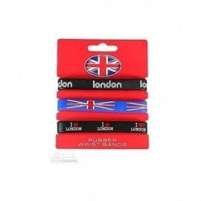 Set of 3 London Union Jack Silicone Wristbands