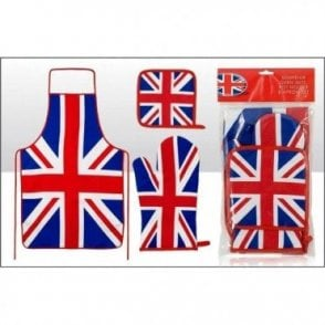 Union Jack Apron, Oven glove and Pot Holder set