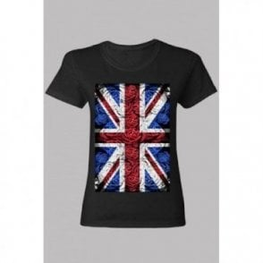 Ladies Rose Design Union Jack T shirt Black