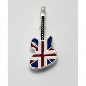 Union Jack Rock Guitar Pin Badge / Brooch