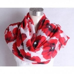 White & Red Poppy Scarf