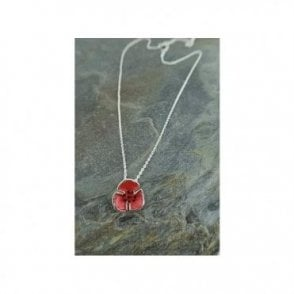 Poppy Pendant  - small poppy on delicate silver chain