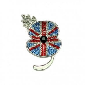 Silver Plated Rhinestone Crystal Diamante Union Jack Brooch