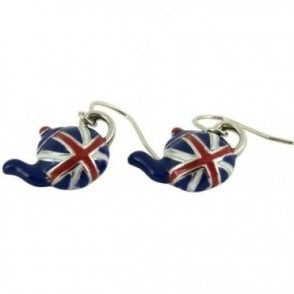 Union Jack Tea Pot Earrings