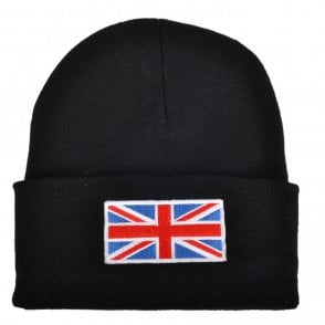 Union Jack Wear Black Union Jack Flag Beanie Hat