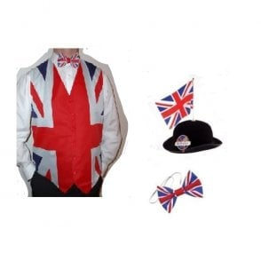 Union Jack Wear Union Jack Flag Waistcoat, Bow tie and Great British Bowler with Flag