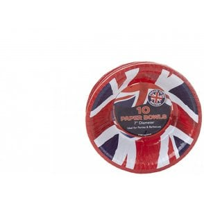 "Union Jack Wear Union Jack Paper Party Bowls 7"" - pack of 10"